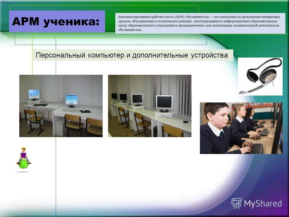 АРМ ученика: Персональный компьютер и дополнительные устройства