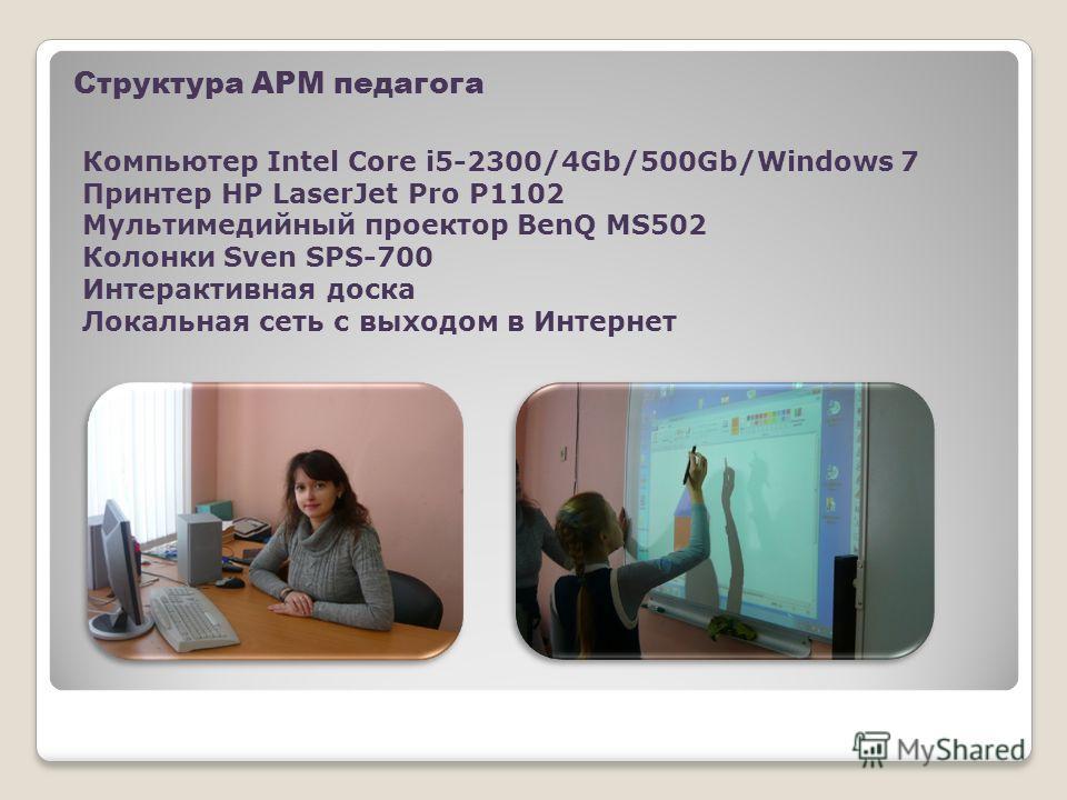 Структура АРМ педагога Компьютер Intel Core i5-2300/4Gb/500Gb/Windows 7 Принтер HP LaserJet Pro P1102 Мультимедийный проектор BenQ MS502 Колонки Sven SPS-700 Интерактивная доска Локальная сеть с выходом в Интернет