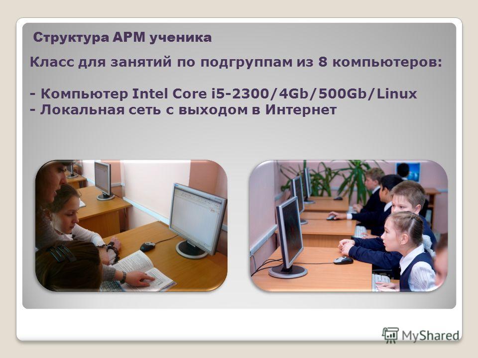 Структура АРМ ученика Класс для занятий по подгруппам из 8 компьютеров: - Компьютер Intel Core i5-2300/4Gb/500Gb/Linux - Локальная сеть с выходом в Интернет