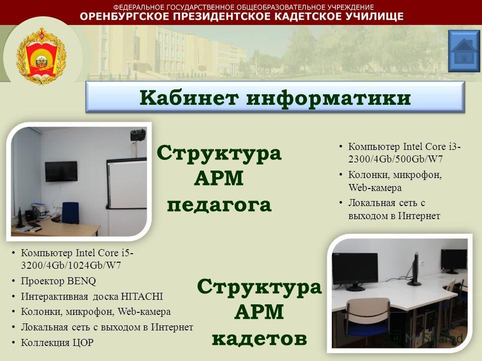 Кабинет информатики Структура АРМ педагога Структура АРМ кадетов Компьютер Intel Core i5- 3200/4Gb/1024Gb/W7 Проектор BENQ Интерактивная доска HITACHI Колонки, микрофон, Web-камера Локальная сеть с выходом в Интернет Коллекция ЦОР Компьютер Intel Cor