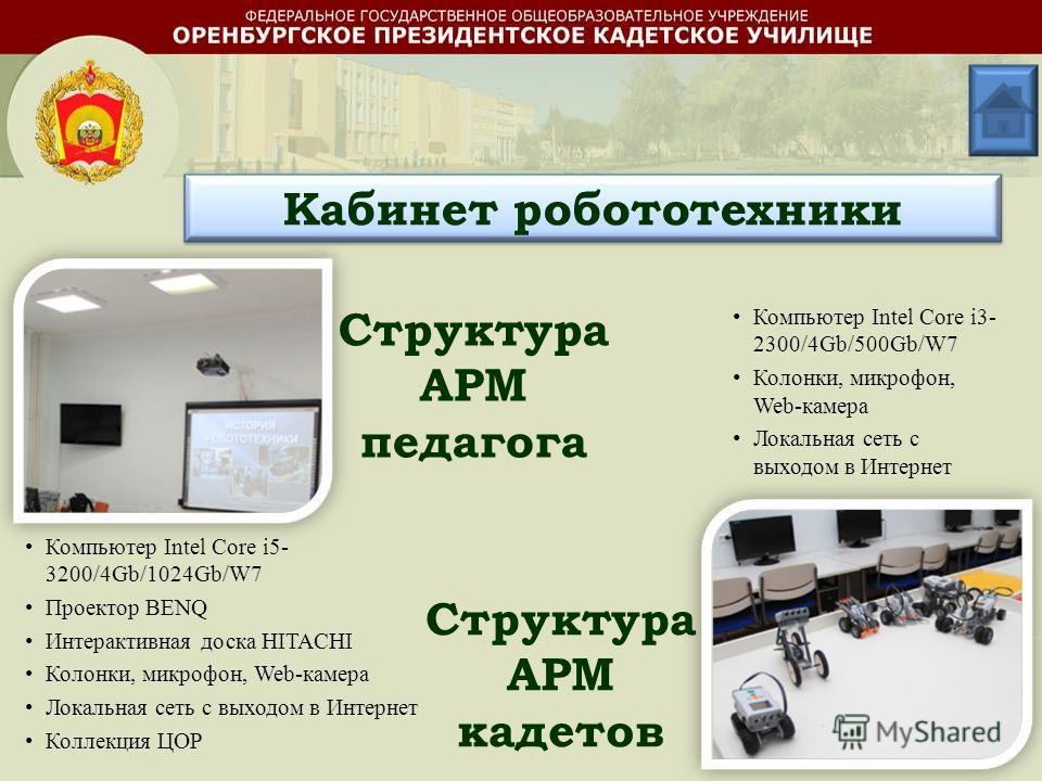 Структура АРМ педагога Структура АРМ кадетов Компьютер Intel Core i5- 3200/4Gb/1024Gb/W7 Проектор BENQ Интерактивная доска HITACHI Колонки, микрофон, Web-камера Локальная сеть с выходом в Интернет Коллекция ЦОР Компьютер Intel Core i3- 2300/4Gb/500Gb
