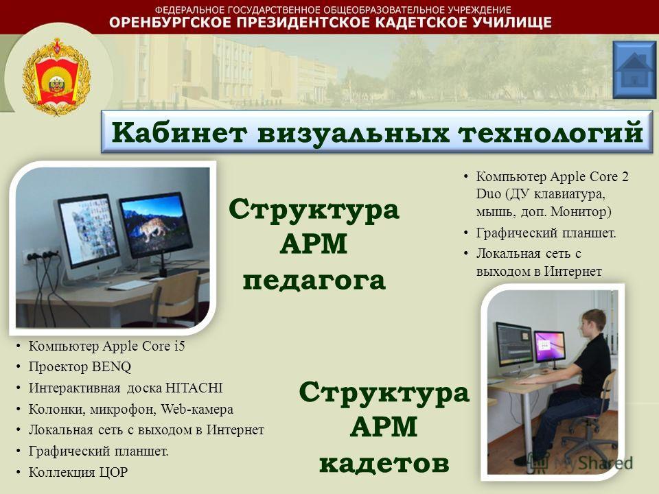 Структура АРМ педагога Структура АРМ кадетов Компьютер Apple Core i5 Проектор BENQ Интерактивная доска HITACHI Колонки, микрофон, Web-камера Локальная сеть с выходом в Интернет Графический планшет. Коллекция ЦОР Компьютер Apple Core 2 Duo (ДУ клавиат