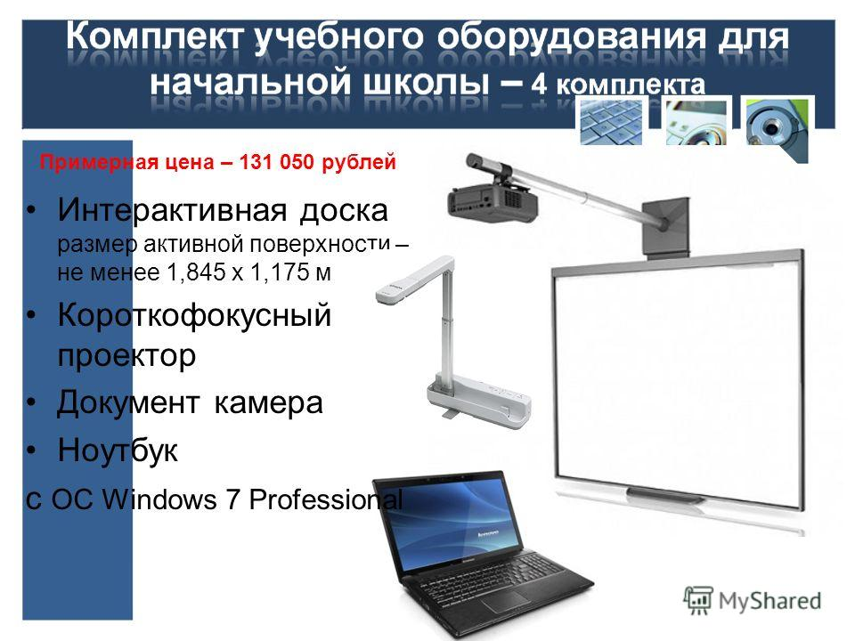 Интерактивная доска размер активной поверхности – не менее 1,845 х 1,175 м Короткофокусный проектор Документ камера Ноутбук с ОС Windows 7 Professional Примерная цена – 131 050 рублей