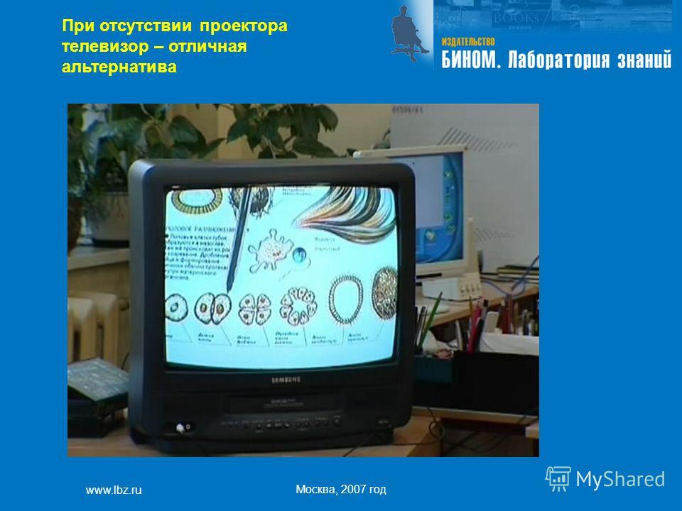 www.lbz.ru Москва, 2007 год При отсутствии проектора телевизор – отличная альтернатива