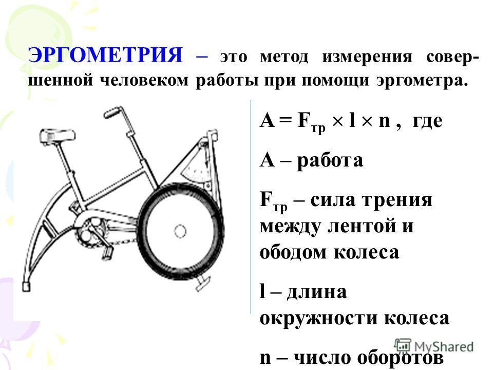 ЭРГОМЕТРИЯ – это метод измерения совер- шенной человеком работы при помощи эргометра. A = F тр l n, где А – работа F тр – сила трения между лентой и ободом колеса l – длина окружности колеса n – число оборотов