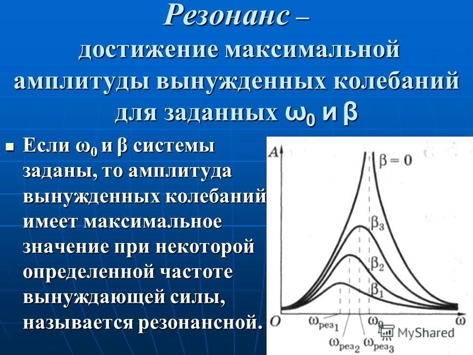 Резонанс – достижение максимальной амплитуды вынужденных колебаний для заданных ω0 и β Если ω 0 и β системы заданы, то амплитуда вынужденных колебаний имеет максимальное значение при некоторой определенной частоте вынуждающей силы, называется резонан