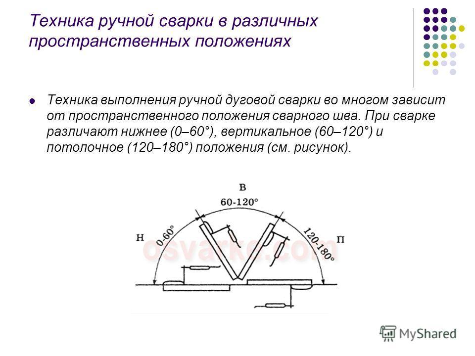 Техника ручной сварки в различных пространственных положениях Техника выполнения ручной дуговой сварки во многом зависит от пространственного положения сварного шва. При сварке различают нижнее (0–60°), вертикальное (60–120°) и потолочное (120–180°)
