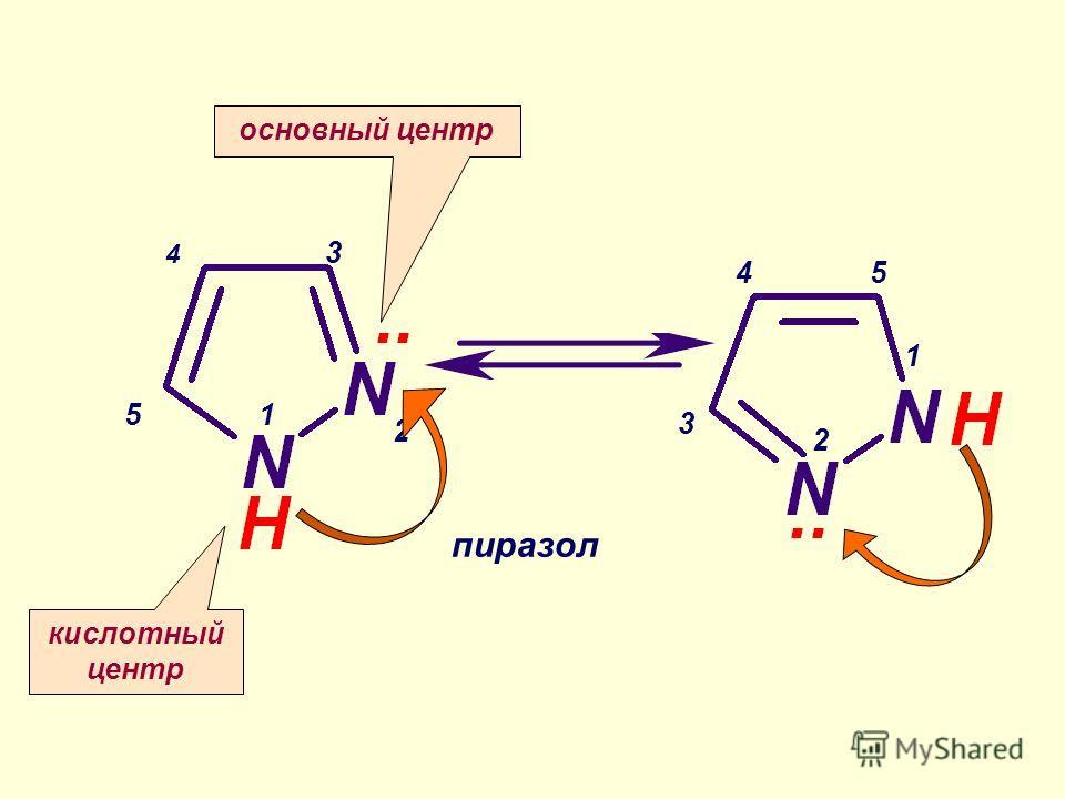 1 1 2 2 3 3 45 5 пиразол 4 основный центр кислотный центр