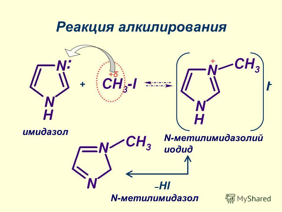 Реакция алкилирования +δ+δ + I-I- + N-метилимидазолий иодид N-метилимидазол имидазол – HI