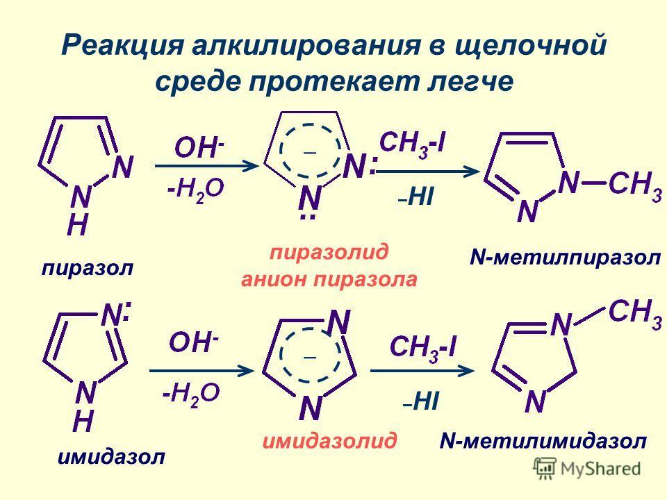 Реакция алкилирования в щелочной среде протекает легче – – имидазолид пиразол N-метилимидазол N-метилпиразол пиразолид анион пиразола имидазол