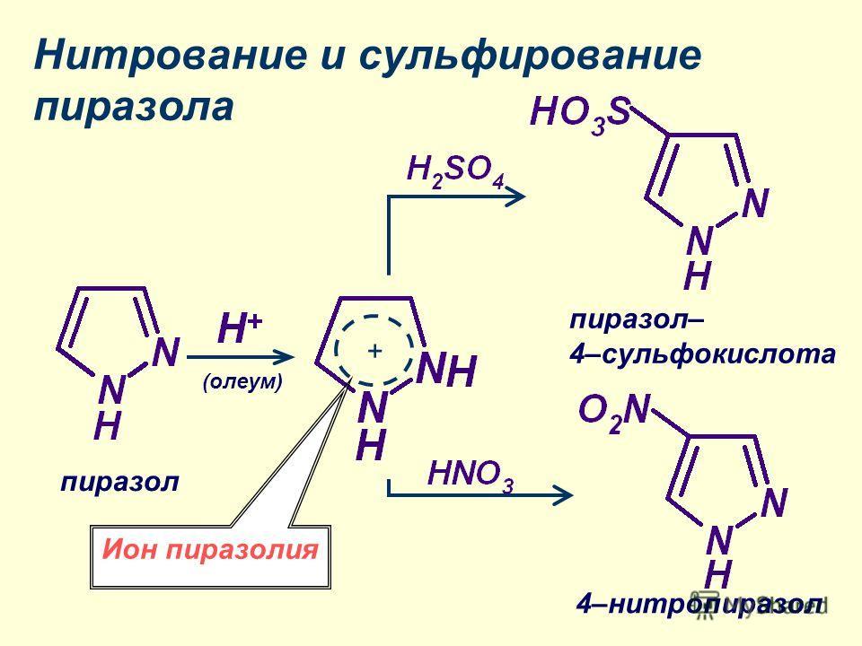 Нитрование и сульфирование пиразола + пиразол (олеум) 4–нитропиразол пиразол– 4–сульфокислота Ион пиразолия
