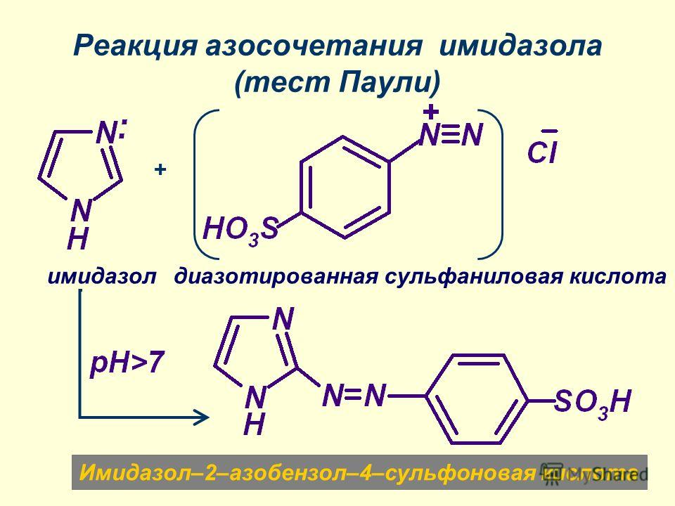 Реакция азосочетания имидазола (тест Паули) диазотированная сульфаниловая кислотаимидазол Имидазол–2–азобензол–4–сульфоновая кислота +