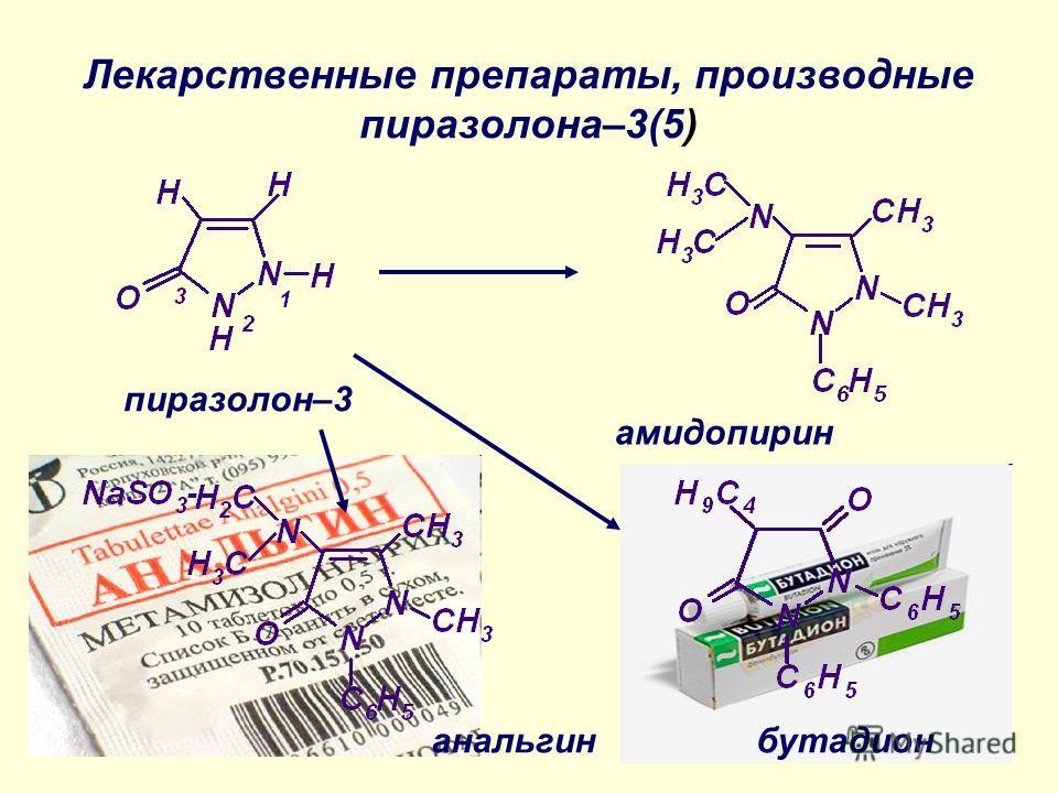 Лекарственные препараты, производные пиразолона–3(5) пиразолон–3 анальгинбутадион амидопирин
