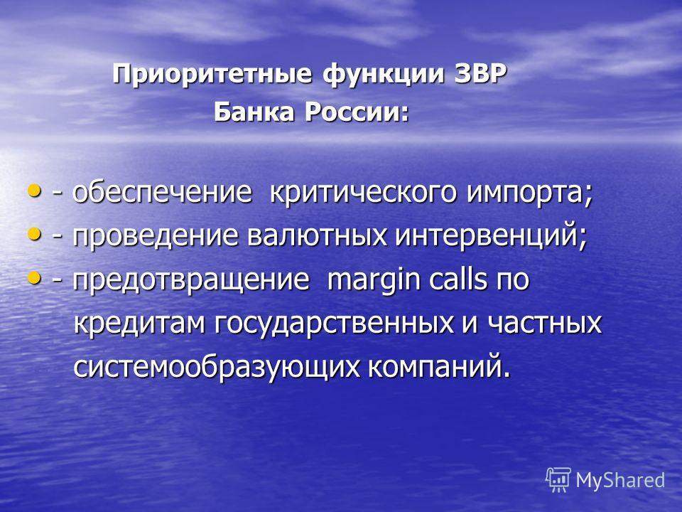 Приоритетные функции ЗВР Приоритетные функции ЗВР Банка России: Банка России: - обеспечение критического импорта; - обеспечение критического импорта; - проведение валютных интервенций; - проведение валютных интервенций; - предотвращение margin calls