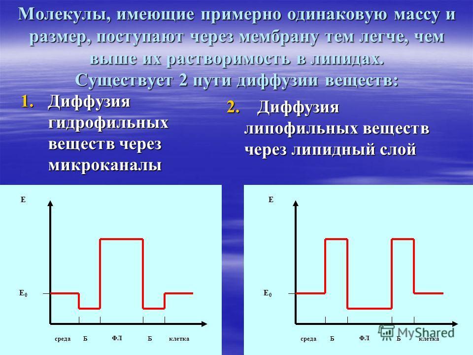 Молекулы, имеющие примерно одинаковую массу и размер, поступают через мембрану тем легче, чем выше их растворимость в липидах. Существует 2 пути диффузии веществ: 1.Диффузия гидрофильных веществ через микроканалы 2. Диффузия липофильных веществ липоф