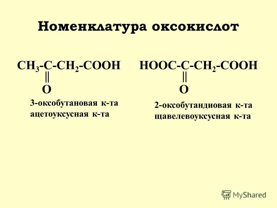 Номенклатура оксокислот 3-оксобутановая к-та ацетоуксусная к-та HOOC-C-CH 2 -COOH O 2-оксобутандиовая к-та щавелевоуксусная к-та CH 3 -C-CH 2 -COOH O