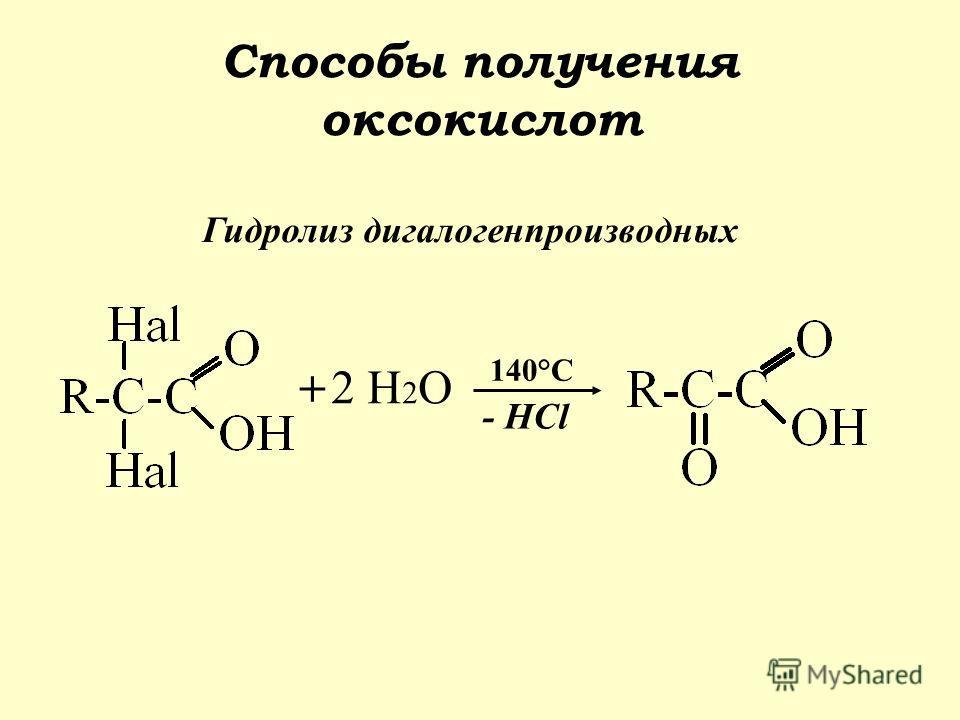 Способы получения оксокислот Гидролиз дигалогенпроизводных + 2 H 2 O 140°C - HCl