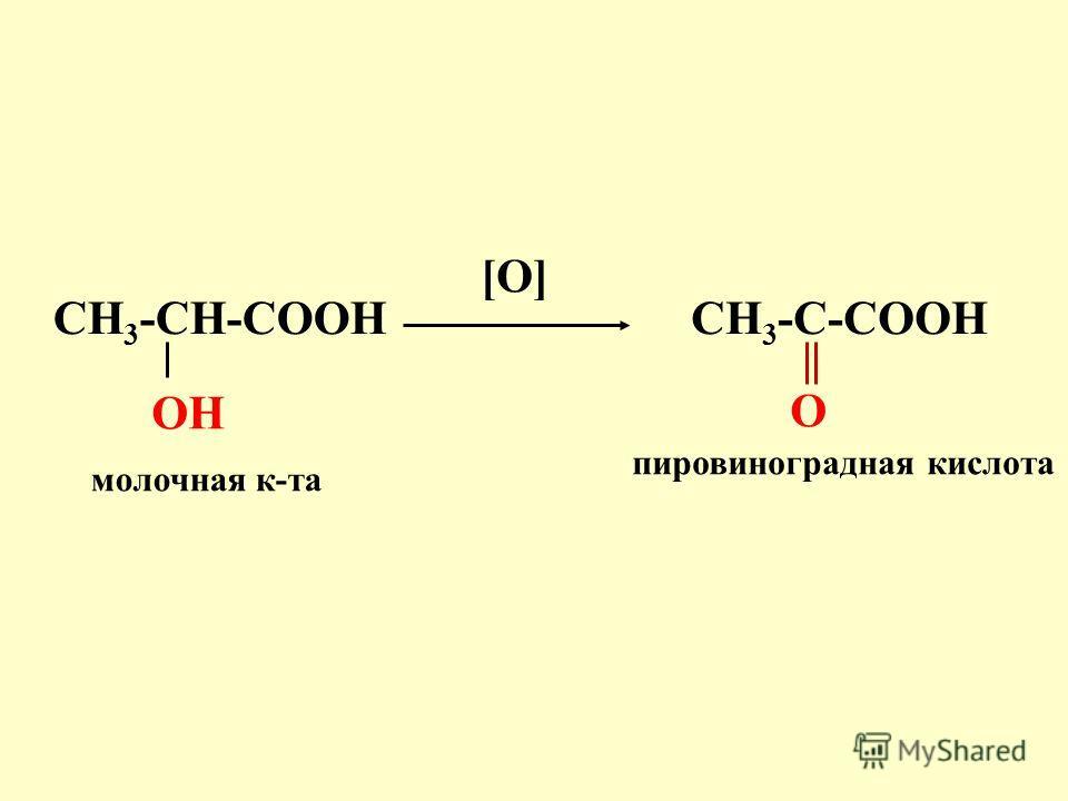 CH 3 -CH-COOH OH молочная к-та [O] пировиноградная кислота CH 3 -C-COOH O
