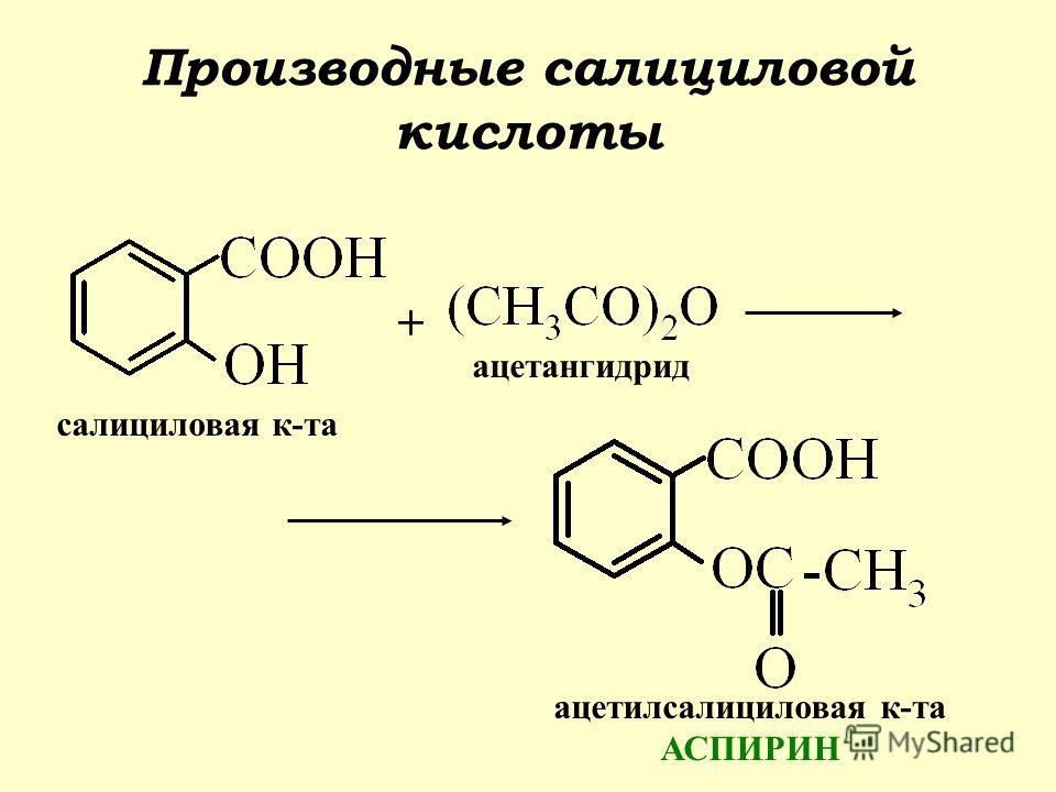 Производные салициловой кислоты + салициловая к-та ацетангидрид ацетилсалициловая к-та АСПИРИН