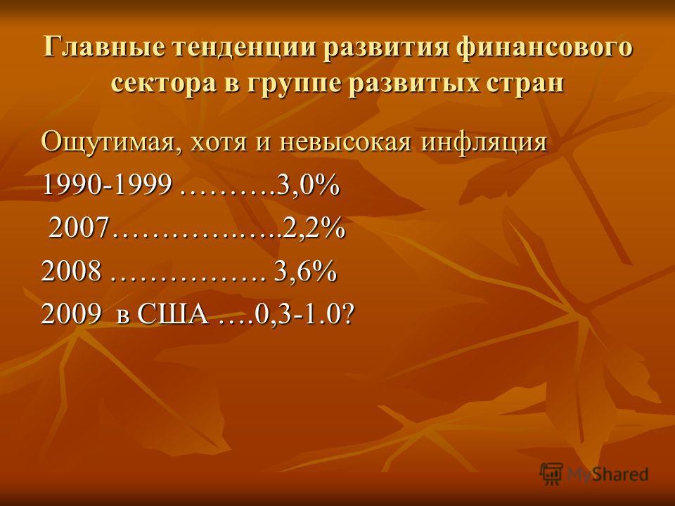 Главные тенденции развития финансового сектора в группе развитых стран Ощутимая, хотя и невысокая инфляция 1990-1999 ……….3,0% 2007………….…..2,2% 2007………….…..2,2% 2008 ……………. 3,6% 2009 в США ….0,3-1.0?