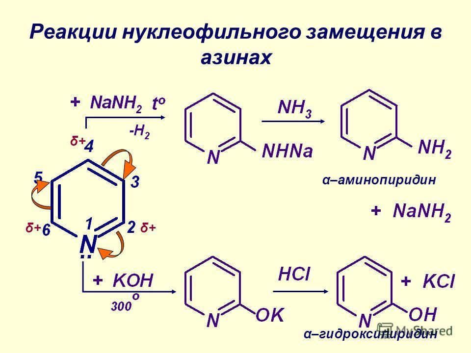 Реакции нуклеофильного замещения в азинах δ+ α–аминопиридин α–гидроксипиридин