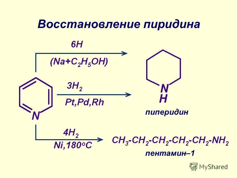 Восстановление пиридина пиперидин пентамин–1