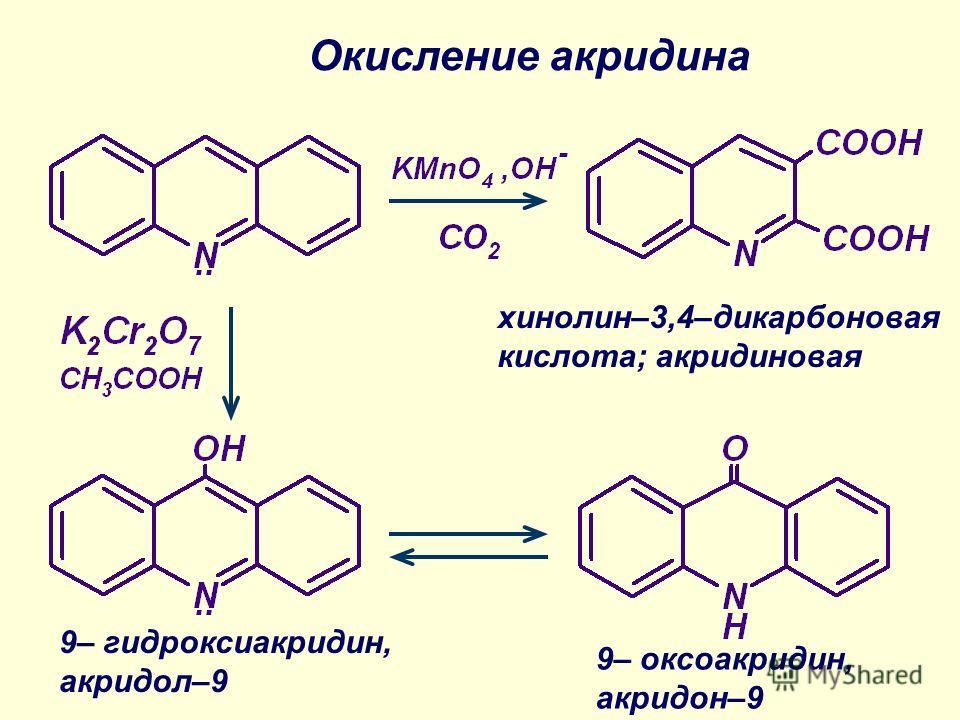 Окисление акридина хинолин–3,4–дикарбоновая кислота; акридиновая 9– оксоакридин, акридон–9 9– гидроксиакридин, акридол–9