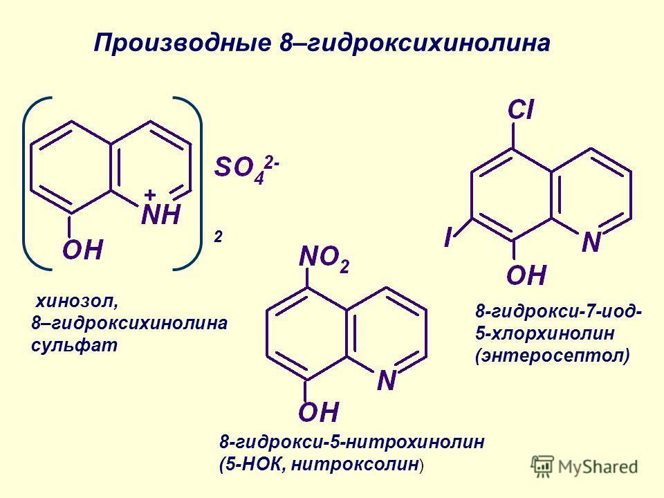 8-гидрокси-5-нитрохинолин (5-НОК, нитроксолин ) 8-гидрокси-7-иод- 5-хлорхинолин (энтеросептол) Производные 8–гидроксихинолина 2 хинозол, 8–гидроксихинолина сульфат