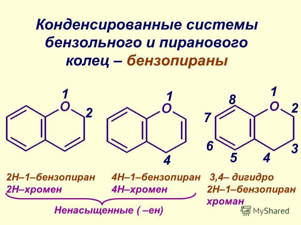 1 1 1 2 2 4 4 3 5 6 7 8 Конденсированные системы бензольного и пиранового колец – бензопираны 2Н–1–бензопиран 2Н–хромен 4Н–1–бензопиран 4Н–хромен 3,4– дигидро 2Н–1–бензопиран хроман Ненасыщенные ( –ен)