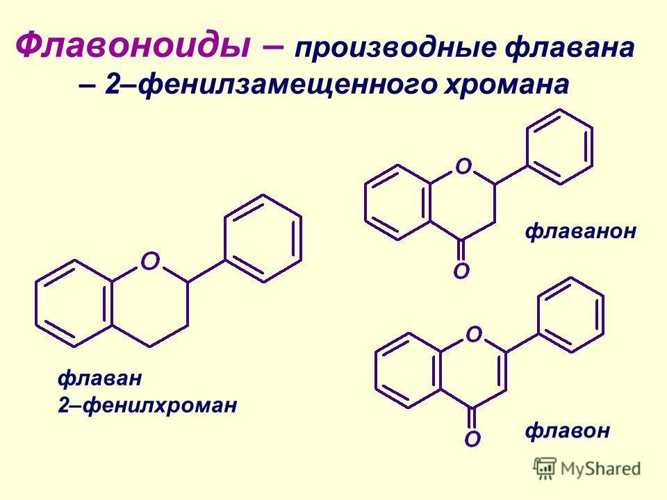 Флавоноиды – производные флавана – 2–фенилзамещенного хромана флаван 2–фенилхроман флаванон флавон