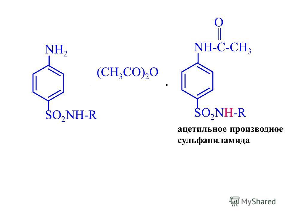NH 2 SO 2 NH-R (CH 3 CO) 2 O NH-C-CH 3 SO 2 NH-R O ацетильное производное сульфаниламида