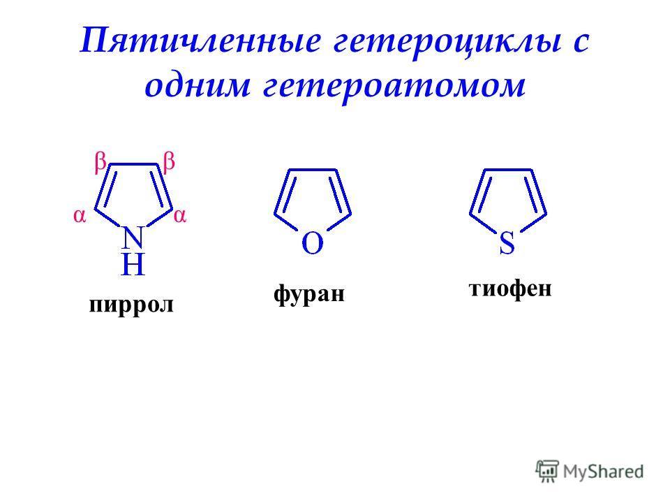 Пятичленные гетероциклы с одним гетероатомом пиррол фуран тиофен αα ββ