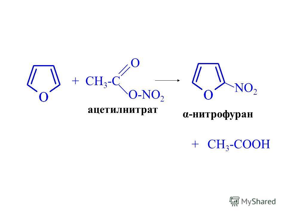 + CH 3 -C O O-NO 2 ацетилнитрат NO 2 α-нитрофуран +CH 3 -COOH
