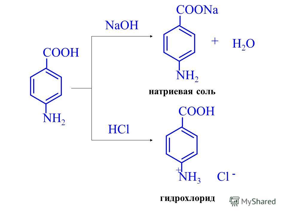 COOH NH 2 NaOH COONa NH 2 натриевая соль + H2OH2O HCl COOH NH 3 Cl - + гидрохлорид