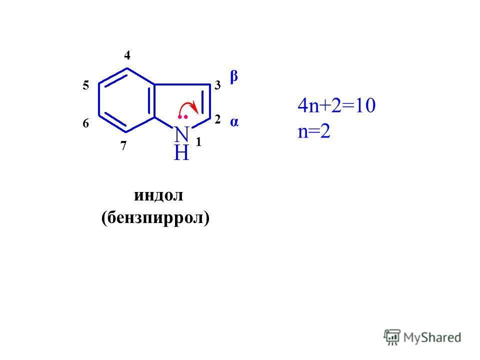 индол (бензпиррол).. 4n+2=10 n=2 1 2 3 4 5 6 7 α β