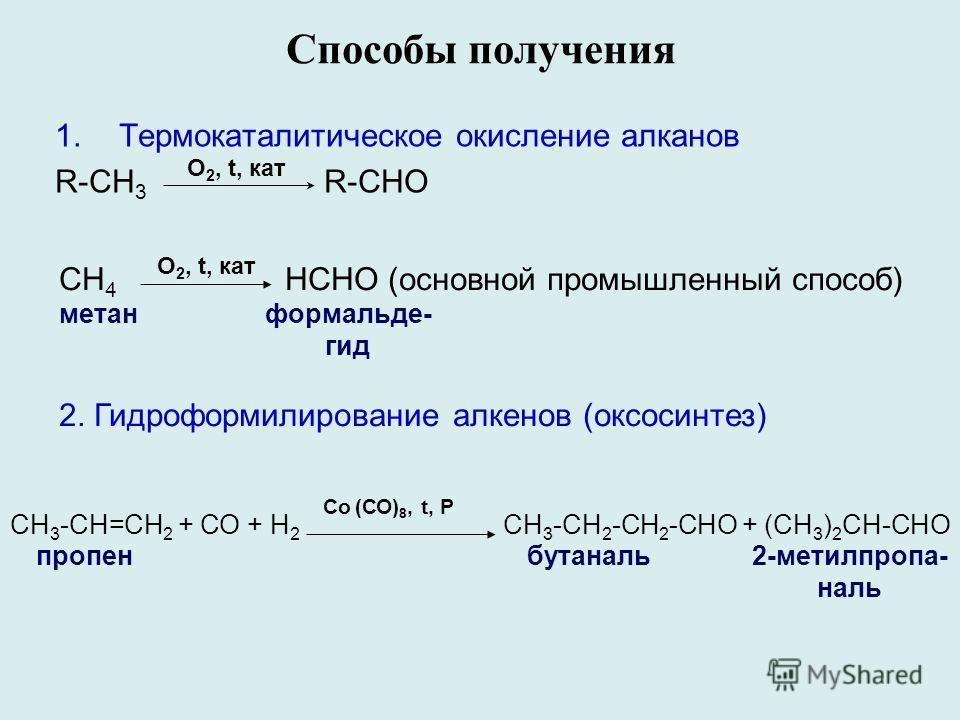 Способы получения 1.Термокаталитическое окисление алканов R-CH 3 R-CHO O 2, t, кат О 2, t, кат СН 4 НСНО (основной промышленный способ) метанформальде- гид 2. Гидроформилирование алкенов (оксосинтез) Сo (СО) 8, t, P СН 3 -СН=СН 2 + СО + Н 2 CH 3 -CH