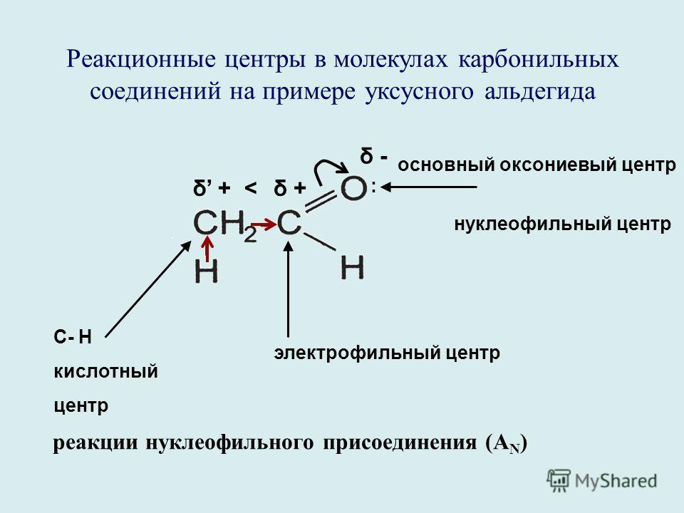 Реакционные центры в молекулах карбонильных соединений на примере уксусного альдегида С- Н кислотный центр электрофильный центр реакции нуклеофильного присоединения (А N ) основный оксониевый центр нуклеофильный центр δ +