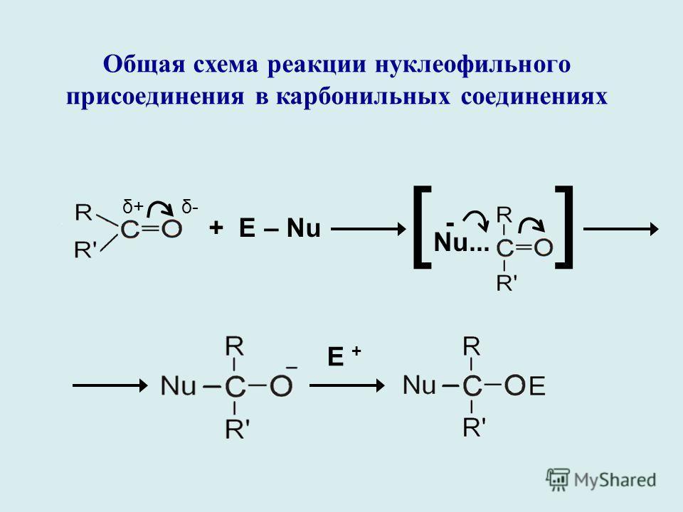 Общая схема реакции нуклеофильного присоединения в карбонильных соединениях δ+δ+δ-δ- + Е – Nu [ Nu... ] - E +