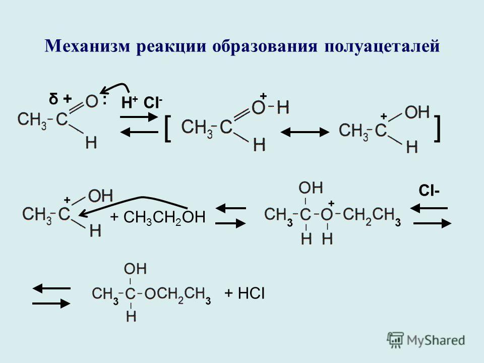 Механизм реакции образования полуацеталей δ +δ +: Н + CI - [] + CH 3 CH 2 OH CI- + HCI