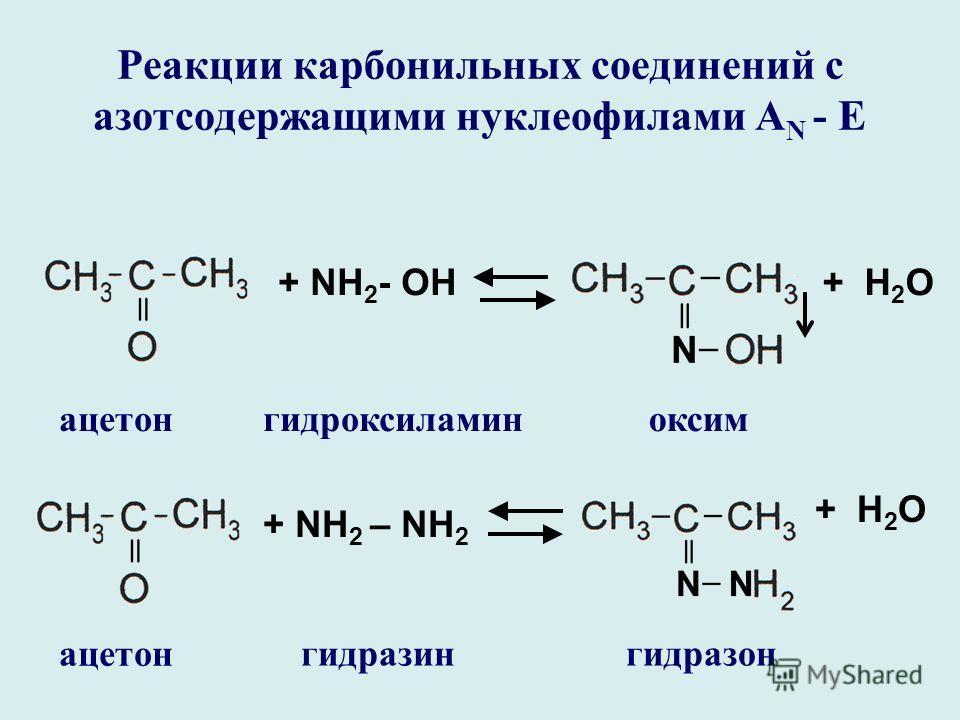 Реакции карбонильных соединений с азотсодержащими нуклеофилами А N - E + NH 2 - ОН+ Н 2 О ацетон оксим + NH 2 – NH 2 гидроксиламин гидразингидразон + Н 2 О