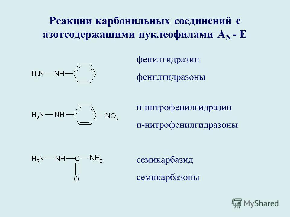 Реакции карбонильных соединений с азотсодержащими нуклеофилами А N - E фенилгидразин фенилгидразоны п-нитрофенилгидразин п-нитрофенилгидразоны семикарбазид семикарбазоны
