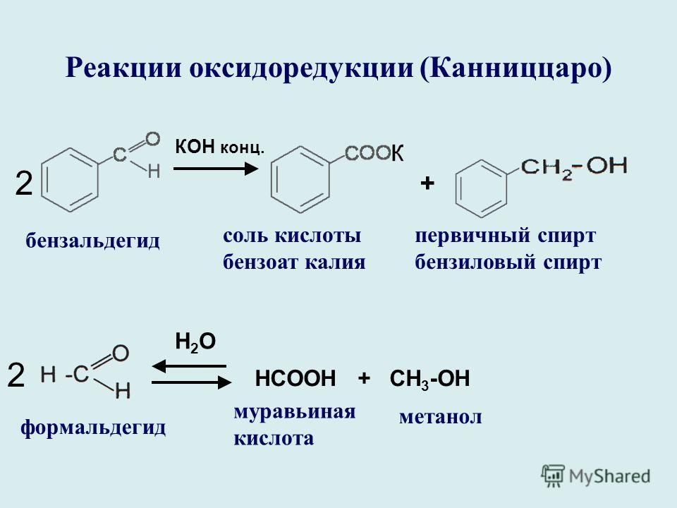 Реакции оксидоредукции (Канниццаро) КОН конц. + бензальдегид соль кислоты бензоат калия первичный спирт бензиловый спирт 2 H2OH2O 2 HCOOН + СН 3 -ОН формальдегид муравьиная кислота метанол