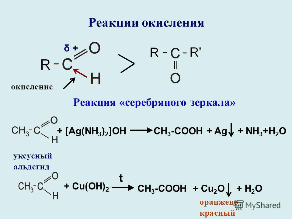 Реакции окисления окисление δ + Реакция «серебряного зеркала» + [Ag(NH 3 ) 2 ]OHCH 3 -COOH+ Ag+ NH 3 +H 2 O уксусный альдегид + Сu(OH) 2 t CH 3 -COOH+ Cu 2 O+ H 2 O оранжево- красный