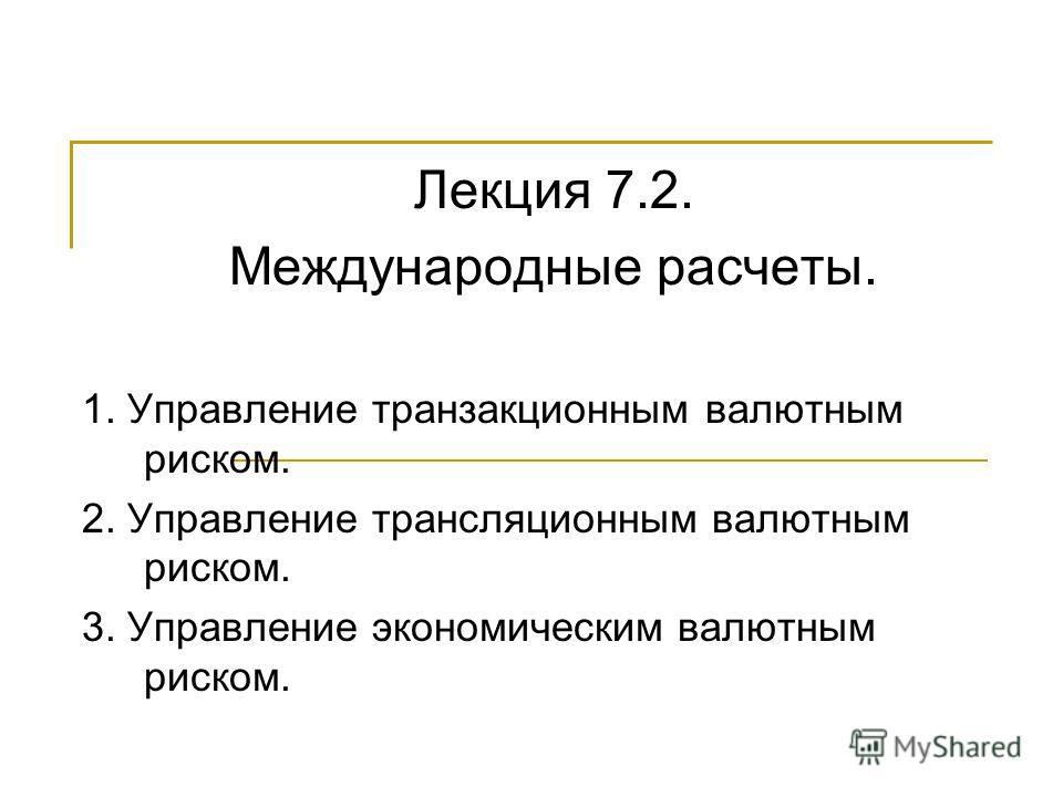 Лекция 7.2. Международные расчеты. 1. Управление транзакционным валютным риском. 2. Управление трансляционным валютным риском. 3. Управление экономическим валютным риском.