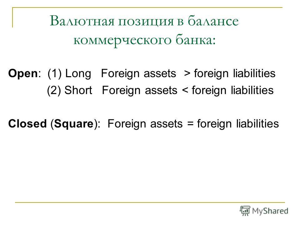 Валютная позиция в балансе коммерческого банка: Open: (1) Long Foreign assets > foreign liabilities (2) Short Foreign assets < foreign liabilities Closed (Square): Foreign assets = foreign liabilities