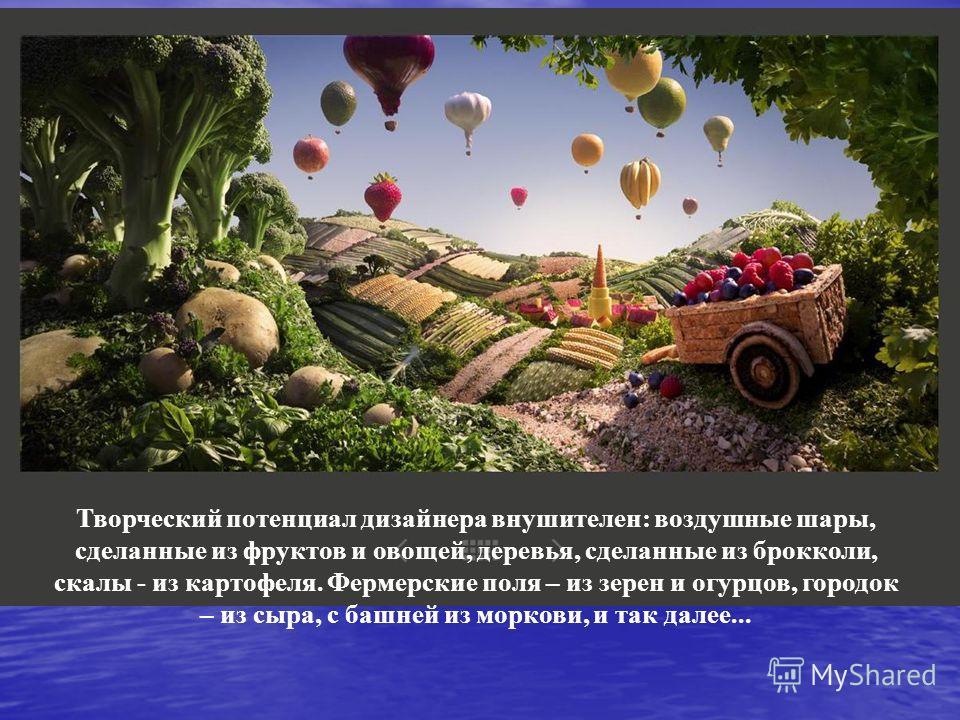 Творческий потенциал дизайнера внушителен: воздушные шары, сделанные из фруктов и овощей, деревья, сделанные из брокколи, скалы - из картофеля. Фермерские поля – из зерен и огурцов, городок – из сыра, с башней из моркови, и так далее...