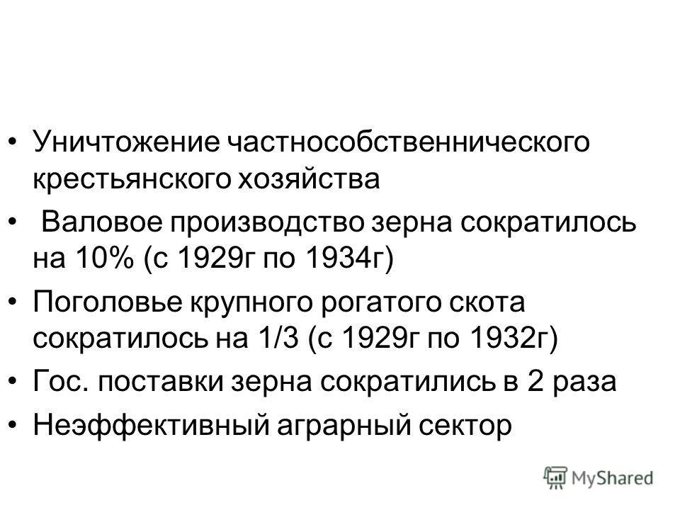 Уничтожение частнособственнического крестьянского хозяйства Валовое производство зерна сократилось на 10% (с 1929г по 1934г) Поголовье крупного рогатого скота сократилось на 1/3 (с 1929г по 1932г) Гос. поставки зерна сократились в 2 раза Неэффективны