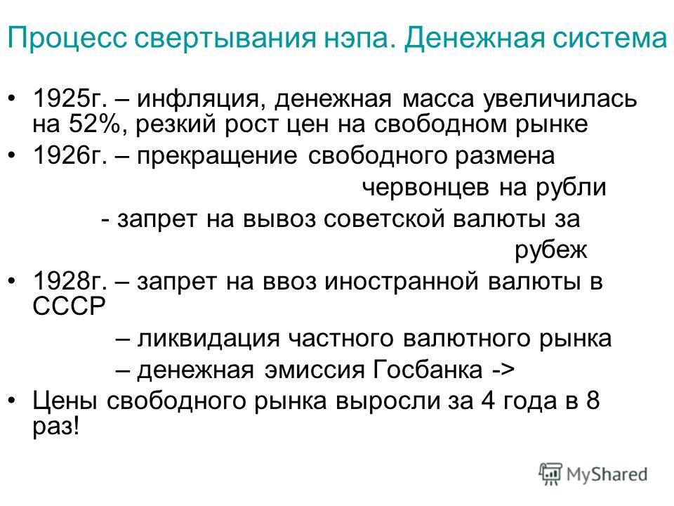 Процесс свертывания нэпа. Денежная система 1925г. – инфляция, денежная масса увеличилась на 52%, резкий рост цен на свободном рынке 1926г. – прекращение свободного размена червонцев на рубли - запрет на вывоз советской валюты за рубеж 1928г. – запрет