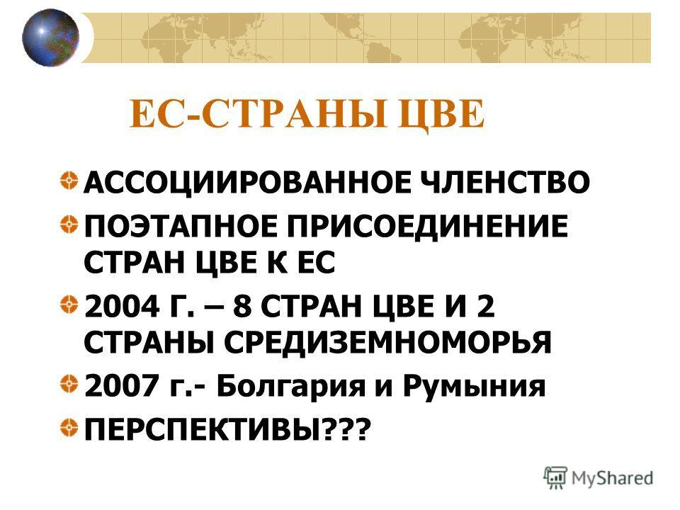 ЕС-СТРАНЫ ЦВЕ АССОЦИИРОВАННОЕ ЧЛЕНСТВО ПОЭТАПНОЕ ПРИСОЕДИНЕНИЕ СТРАН ЦВЕ К ЕС 2004 Г. – 8 СТРАН ЦВЕ И 2 СТРАНЫ СРЕДИЗЕМНОМОРЬЯ 2007 г.- Болгария и Румыния ПЕРСПЕКТИВЫ???