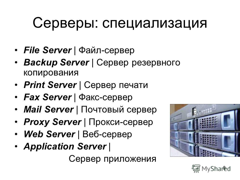 8 Cерверы: cпециализация File Server | Файл-сервер Backup Server | Сервер резервного копирования Print Server | Сервер печати Fax Server | Факс-сервер Mail Server | Почтовый сервер Proxy Server | Прокси-сервер Web Server | Веб-сервер Application Serv
